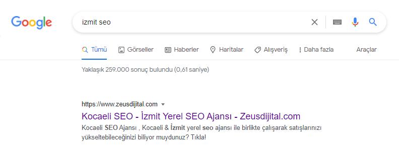 İzmit SEO ajansı Zeus Dijital (Görsel Ahrefs aracından alınmıştır)